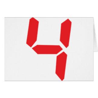 4 four red alarm clock digital number card