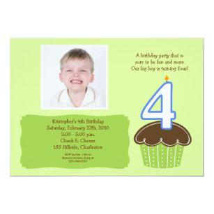 4 FOUR Year Old CUPCAKE PHOTO BIRTHDAY INVITE