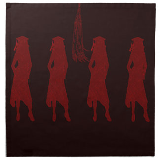4 Grad Girl Silhouettes in Red on Red Background Printed Napkin