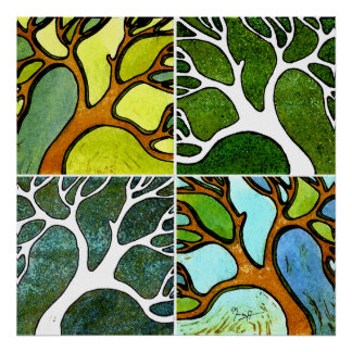 4 Hand Carved Trees in Watercolor and Pen & Ink Poster