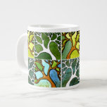 4 Hand Carved Trees in Watercolor and Pen & Ink Jumbo Mug