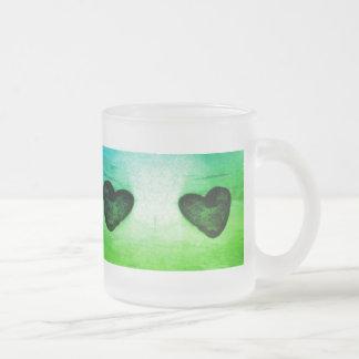 4 hearts Greenleaf tone frosted glass mug