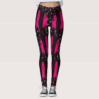 4 Hot Pink Grad Girl Silhouettes Leggings