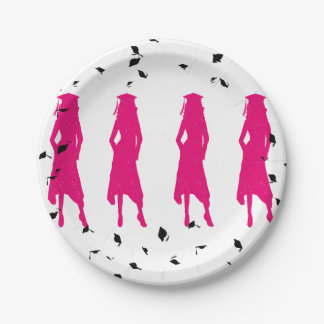 4 Hot Pink Grad Girl Silhouettes Paper Plate
