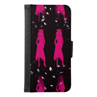 4 Hot Pink Grad Girl Silhouettes Samsung Galaxy S6 Wallet Case