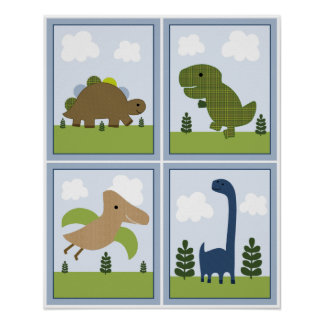 4 in 1 Dinosaurs/Dino 8x10 inch Nursery Art Poster