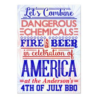 4 juillet barbecue humoristique drôle de la partie carton d'invitation  12,7 cm x 17,78 cm