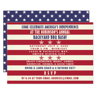 4 juillet drapeau patriotique de rayures d'étoiles carton d'invitation  12,7 cm x 17,78 cm