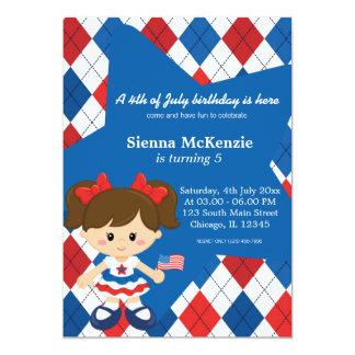 4 juillet fille d'anniversaire carton d'invitation  12,7 cm x 17,78 cm