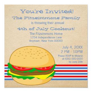 4 juillet invitation barré de barbecue de BBQ