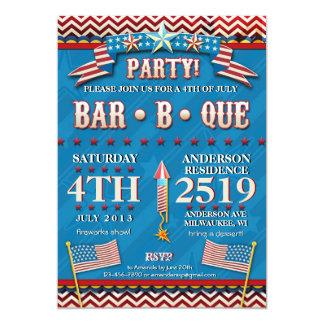 4 juillet invitation de fête de partie de BBQ