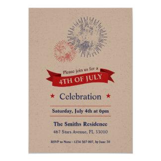 4 juillet invitation de partie de feux d'artifice