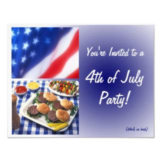 4 juillet invitation, hamburgers et drapeau de carton d'invitation 10,79 cm x 13,97 cm
