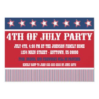 4 juillet invitations rustiques de partie