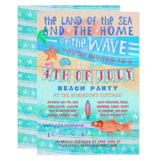 4 juillet natation d'été de plage ou de réception carton d'invitation  12,7 cm x 17,78 cm
