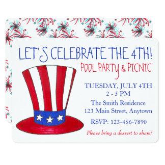 4 juillet partie patriotique des Etats-Unis de Carton D'invitation 12,7 Cm X 17,78 Cm