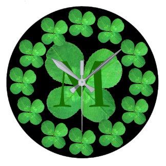4 Leaf Clover Botanical Green And Black Monogram Large Clock