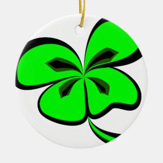 4 leaf clover ceramic ornament