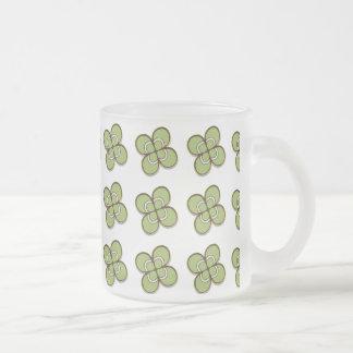 4 Leaf Clover Frosted Glass Coffee Mug