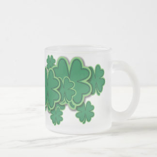 4 Leaf Clover Frosted Glass Mug