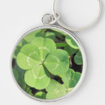 4 Leaf Clover Good Luck Charm Silver-Colored Round Keychain