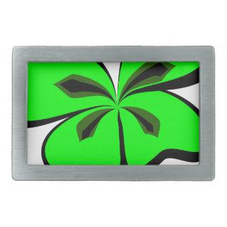 4 leaf clover rectangular belt buckle