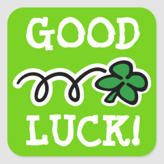 4 Leaf clover stickers saying Good Luck!