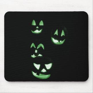 4 Lit Jack-O-Lanterns - Green Mouse Pad