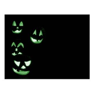 4 Lit Jack-O-Lanterns - Green Postcard