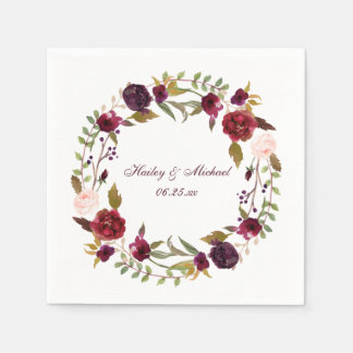 #4 Marsala Burgundy White Roses Leaves Wreath | Paper Napkin