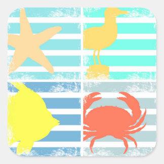 4 Ocean Design Squares Square Sticker