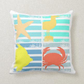 4 Ocean Design Squares Throw Pillow