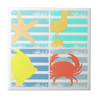 4 Ocean Design Squares Tile