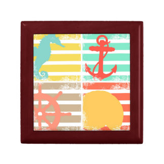 4 Ocean Design Squares with Stripes Gift Box
