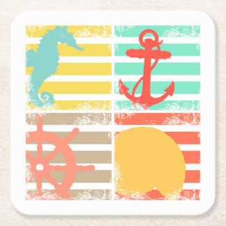 4 Ocean Design Squares with Stripes Square Paper Coaster