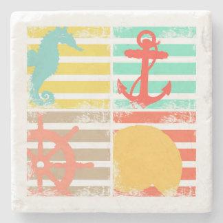4 Ocean Design Squares with Stripes Stone Coaster