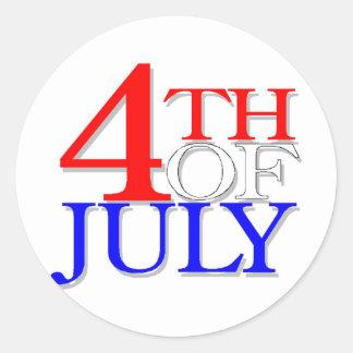 4 Of July Classic Round Sticker