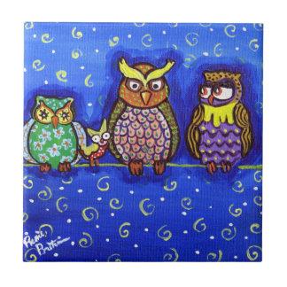 4 Owls on Wire Whimsical Folk Art Tile