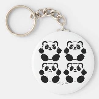 4 pandas émotifs porte-clé rond