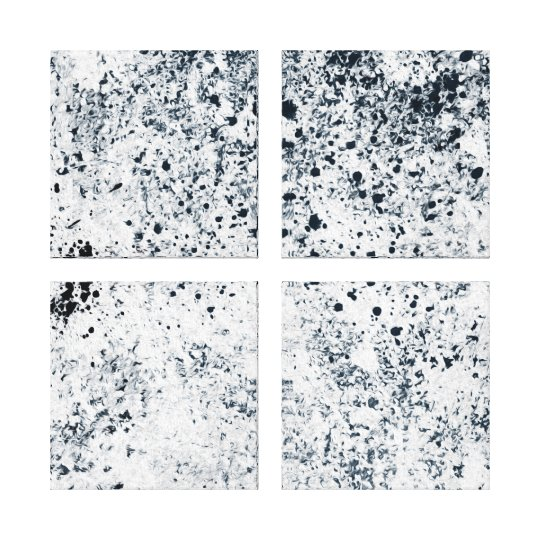 "4 Panel 24"" x 24"" Black and White Abstract Design Canvas Print"
