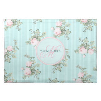 4 personalized place mats shabby chic monogram