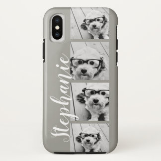 4 Photo Collage and name - CAN edit COLOR iPhone X Case