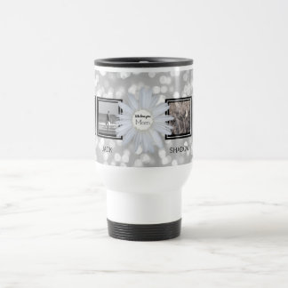 4 Photo Collage for Mom | Mother's Day Daisy Bokeh Travel Mug