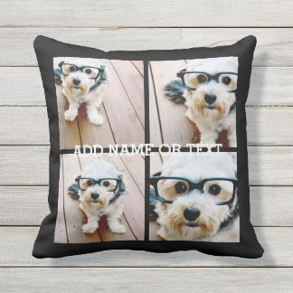 4 Photo Collage - PICK YOUR BACKGROUND COLOR Pillows