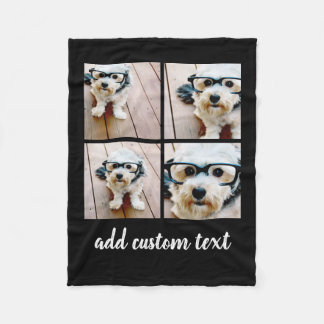 4 Photo Collage - you can change background colour Fleece Blanket