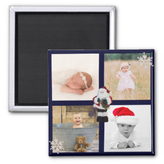 4 Photo Family Collage | Christmas Santa Snowflake Magnet