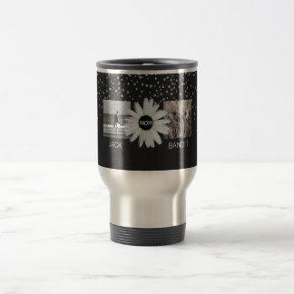 4 Photo Family Collage   Cute Daisy Flower for Mom Travel Mug
