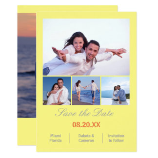 """4 Photos Collage Vertical - Yellow Save the Date 5"""" X 7"""" Invitation Card"""