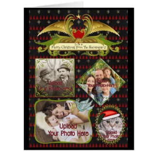 4 Photos For Christmas with Gold Wings Personalize Card