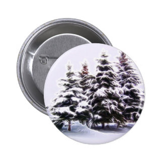 4 Pine tree with snow 2 Inch Round Button